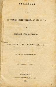 An early Catalogue of the Trustees, Instructors and Students of Kimball Union Academy for the year 1835-36.