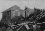 The damage to the gym, built only 24 years earlier in 1914, as seen the morning after the hurricane passed over Meriden.