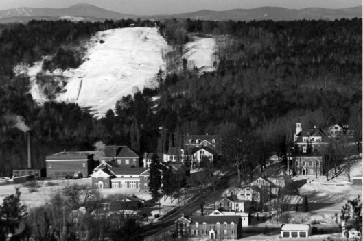 Porter's Cabin can be seen at top of the Townsend Ski Hill, c. 1965.