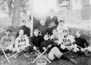 The 1896 baseball team with George Frazier, seated, far left, front row.