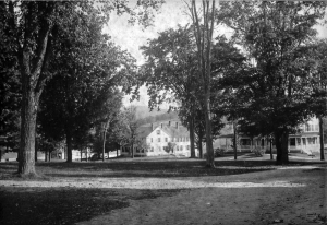 The green in front of the stone church pre 1935 with Baxter Hall (left), Rowe House (center) and the first Dexter Richards Hall (right).