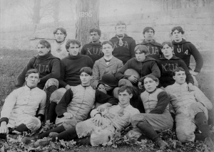 Football, 1896, with Frazier, 3rd row, 2nd from right, and his classmate, Thomas Brown, first row, center.  Dr. Brown became a lifelong supporter of KUA serving as a trustee from 1934 to 1967.