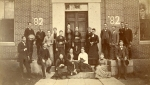The Class of 1882 had their class photograph taken on the steps of the Third Academy building. Nine years later in 1891, it burned to the ground and was replaced by Baxter Hall.