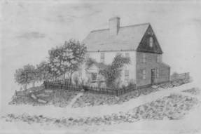 "This ""Sketch from Nature"" by Sarah Melendy, class of 1853, depicts the ""Kimball Mansion"" now the Meriden Congregational Church parsonage."