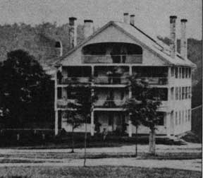 The Meriden House, an inn completed in 1820, was used as a dormitory and inn until it burned to the ground in 1890. It was replaced by the first Dexter Richards Hall (1892-1935).