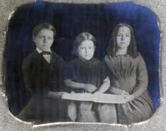 Principal Cyrus and Helen Richards' children:  Charles 9, Abbie 6 and Helen 11, from a tintype c. 1849.