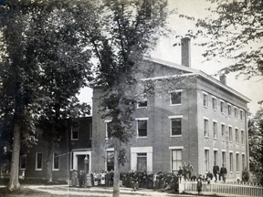 The Third Academy was built 1839-40 as an addition to the smaller, Second Academy through the efforts of Hannah Kimball for her new Female Department and the Male Department.