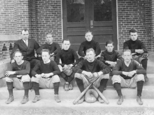 These team pictures were taken on the steps of the newly opened Silver Memorial Gymnasium in the spring of 1915. Left: The 1915 baseball team played 6 games: