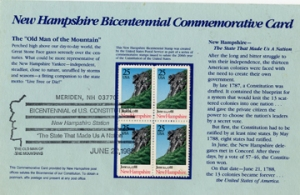 Commemorative stamps, part of New Hampshire's Bicentennial Celebrations depict The Old Man of the Mountains.