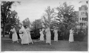 "The senior class traditionally presented a play in the spring. On May 8, 1915, they put on three one-act plays in the new Silver Memorial Gymnasium. KUA's young women also performed, Spirit of Sisterhood, a pageant, in June 1915. ""The graceful Greek dancers run in and follow their leader in a dance symbolic of spring."""