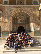 The cast and crew outside Jaipur at the Amber Fort.